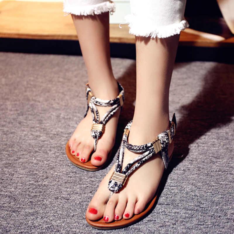 แฟชั่นผู้หญิงงูหลอดเลือดดำแบนรองเท้าแตะฤดูร้อนของแท้หนังสุภาพสตรีสุภาพสตรีฤดูร้อนรองเท้าผู้หญิง