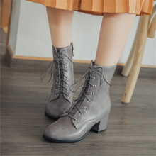 Plus Size 34-45 Autumn Winter Women boots High heels Lace-Up Ladies Sapatos Martin Leather boots Square heel Snow Boots Shoes