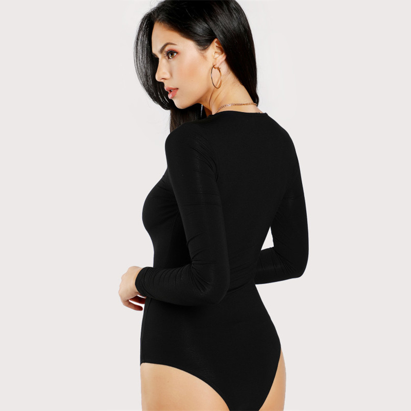 Skinny Sexy Bodysuit Solid Long Sleeve