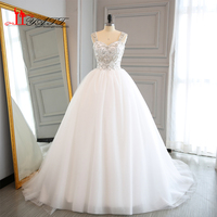 Vestidos 2017 New Arrival Ball Gown Wedding Dresses Real Photo Sweetheart Crystal Beaded Top Sweep Train