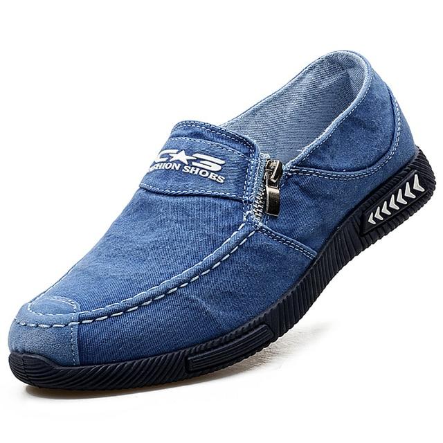 2017 Новая Мода Синий Деним Жан Обувь Для Мужчин Квартиры Скольжения Мокасины Обувь Корзина Homme Мужская Ленивые Вождения Обувь Обувь T031605