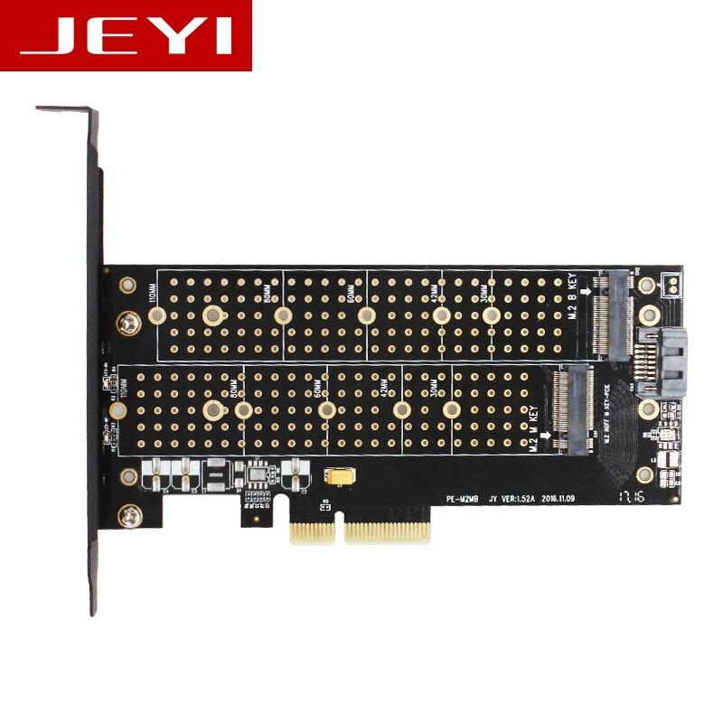 JEYI SK6 M.2 NVMe SSD NGFF PCIE X4 adaptateur M Clé B clé à double interface carte Suppor PCI Express 3.0x4 2230-22110 Tous Les Taille m.2