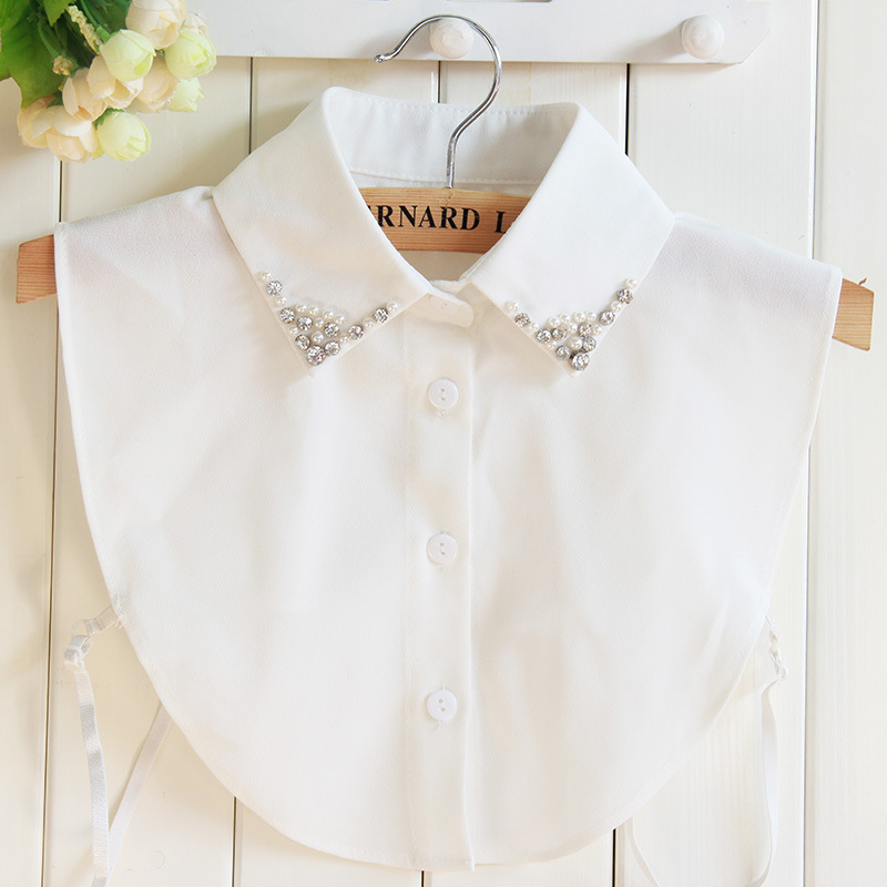 White Chiffon Women Fake Collar Beaded Crystal Plus Size XL Faux Col Pearls Collar Shirt Nep Kraagje Tank Top Detachable Collars
