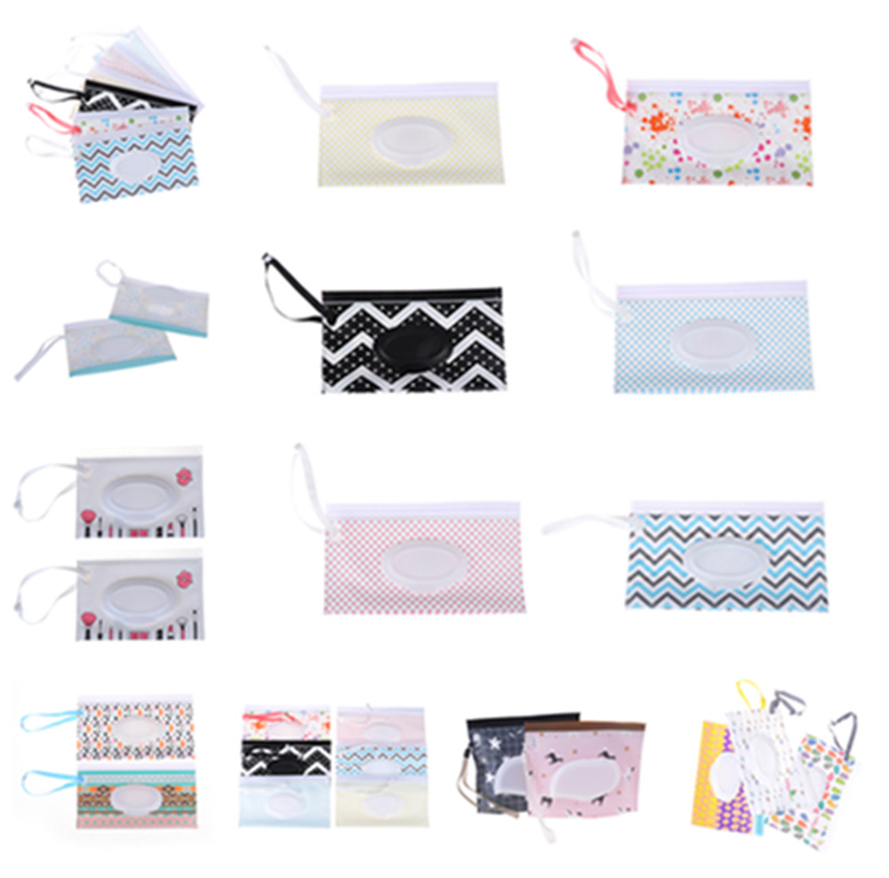 1PCS Reusable Cartoon Print Baby Wet Wipes Bag Wet Wipes Cover Container For Wet Wipes Baby Skin Care Travel Wipes Bag