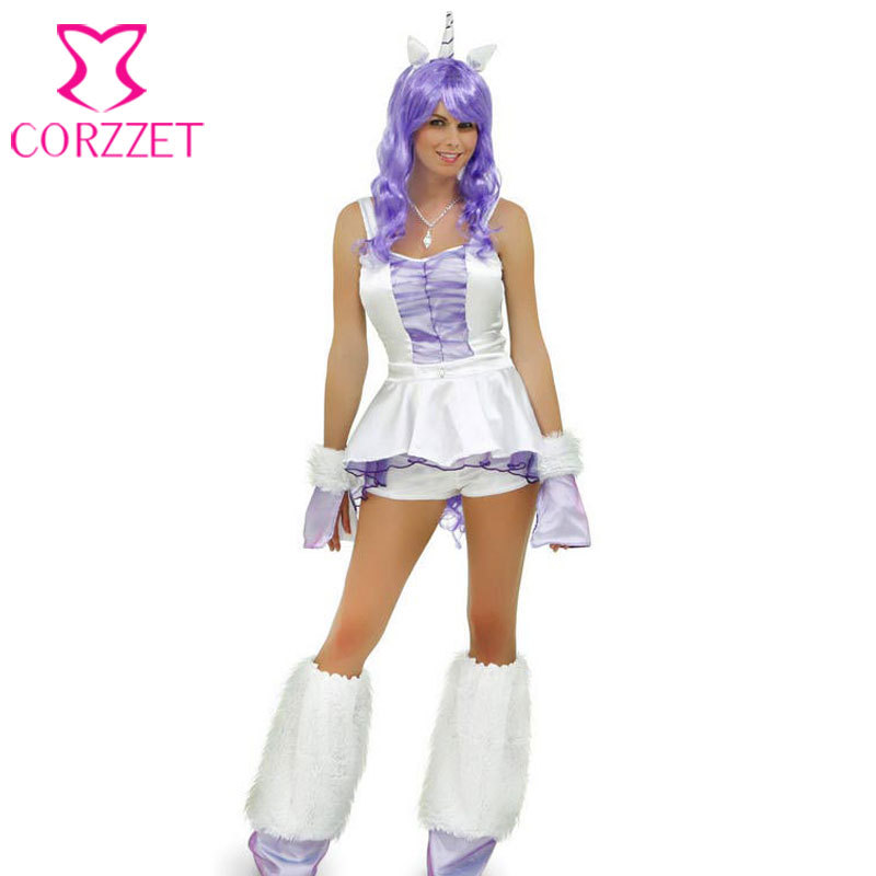 Blanc / violet adulte femmes fantaisie licorne Costume Cosplay animaux Costume Sexy Halloween Costumes xl,