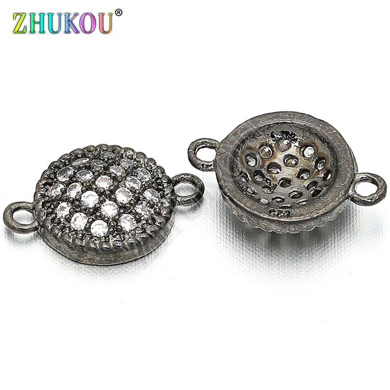 8mm Brass Cubic Zirconia Round Charms Connectors For Diy Jewelry Findings, Hole: 0.5mm, Model: VS3