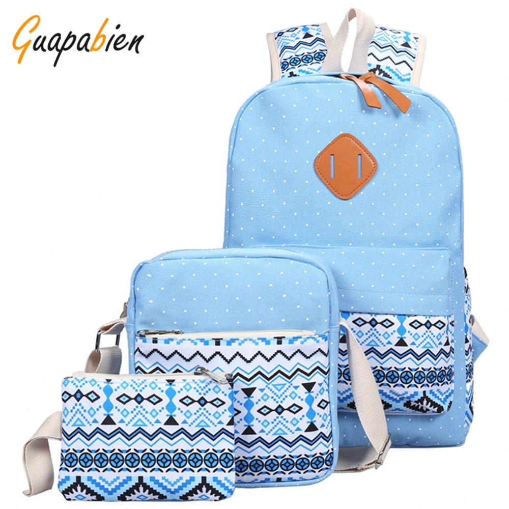 Guapabien 3pc Printing Canvas Women Girl Teenager Backpack Set Cut Dot Print Ethnic School Travel Fashion