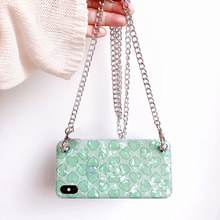 love chain strap tpu case for iphone 7 8 6 6s plus XR X XS MAX cover glitter foil heart shoulder lanyard soft silicon phone