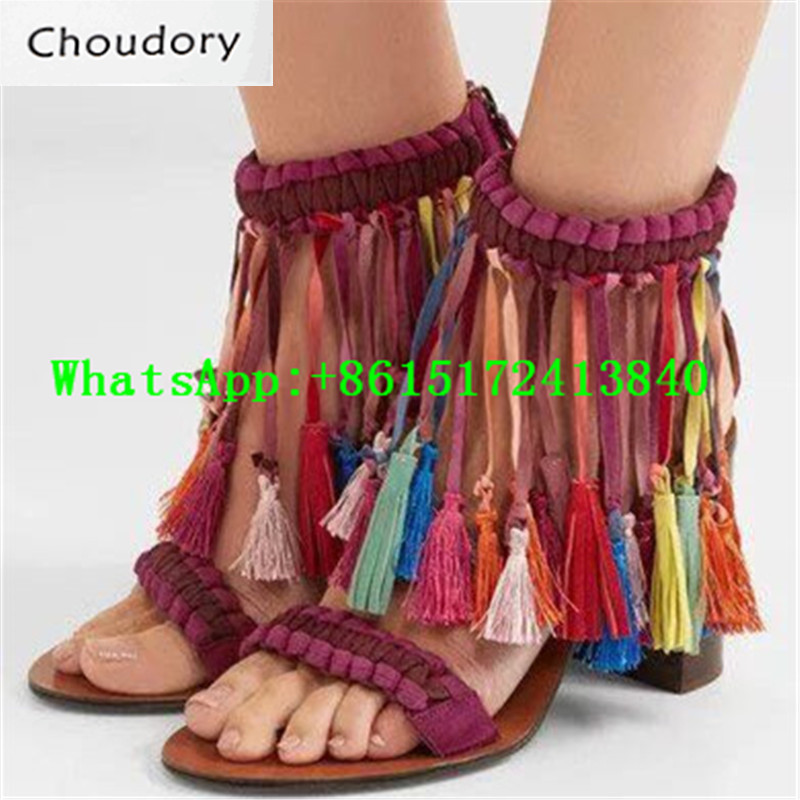 Choudory Zipper Open Toe Casual Super High Heels Sandals Sweet Sexy Dress Shoes Woman Fringe Fashion Square Heels Shoes Woman