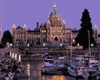 MaHuaf J298 British Columbia Parliament Building Canada Yacht Painting By Numbers Paint Canvas For Home Decor
