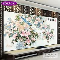 Zozack Plum Blossom Bird Patterns Counted Printed On Canva Fabric DIY DMC Cross Stitch Kits Full