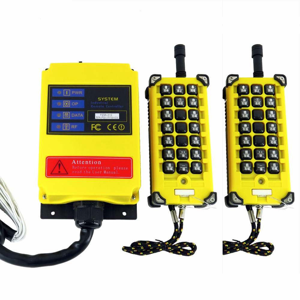 high quality  AC 1 Speed 2 Transmitter 21 Channels Hoist Crane Industrial Truck Radio Remote Control System Controller dc12v 1 speed 1 transmitter 9 channels hoist crane industrial truck radio remote control system controller receiver remote 500m
