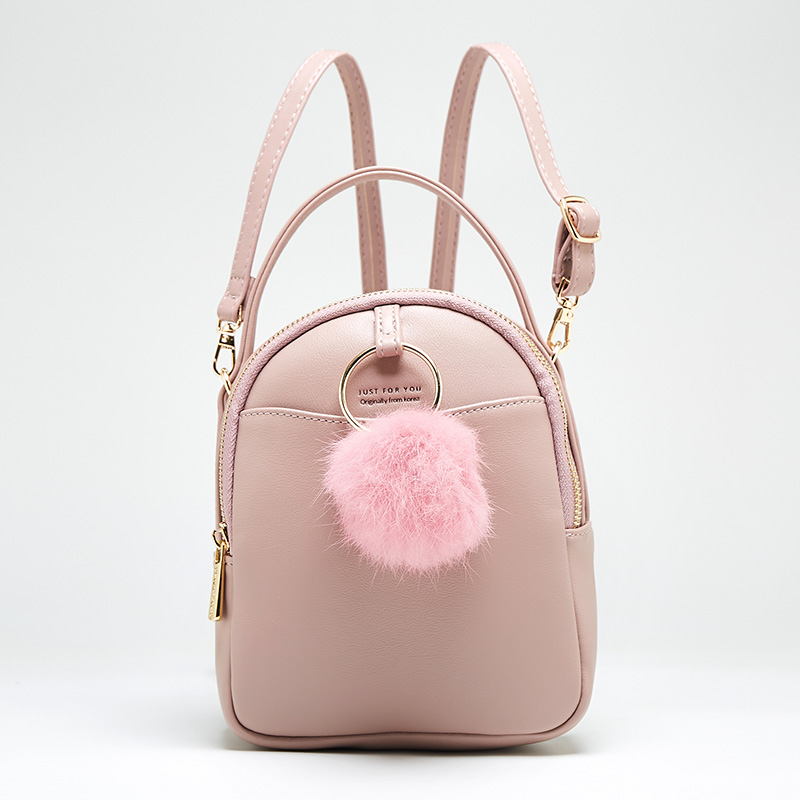 Small Female Backpack Quality Pu Leather Fashion Bags For Teenage Girls Lovely Pompom Shoulder Bag Women School Backpacks Female fashion pu geniune leather shoulder bag women backpacks crocodile pattern small backpack embossed school bags for girls