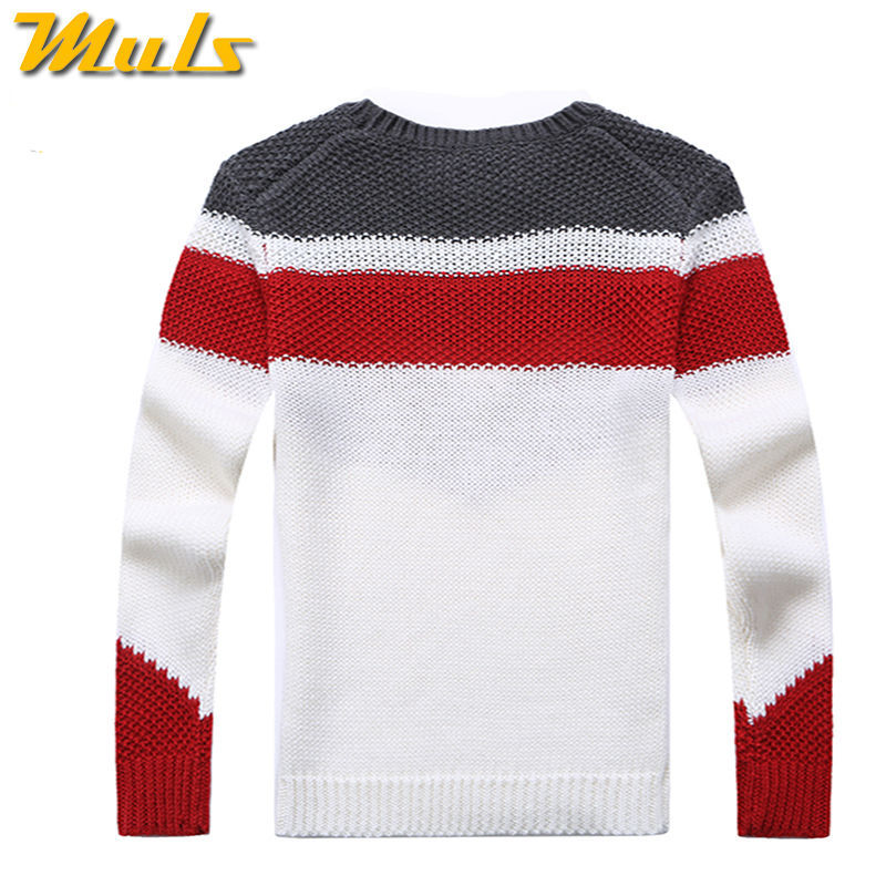 Online Shop Winter Red And white Striped Polo Knitting Men ...