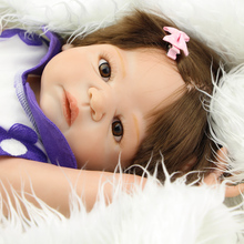 Rooted Synthetic Hair 22 Inch Reborn Girls Full Silicone Vinyl Newborn Babies Dolls With Beautiful Dress Kids Birthday Xmas Gift