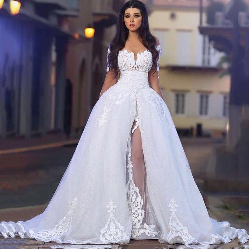 Nouveau Design O cou appliqué dentelle à manches longues une ligne de robes de bal avec surjupe Sexy Vestidos de novia Cap manches robe de soirée