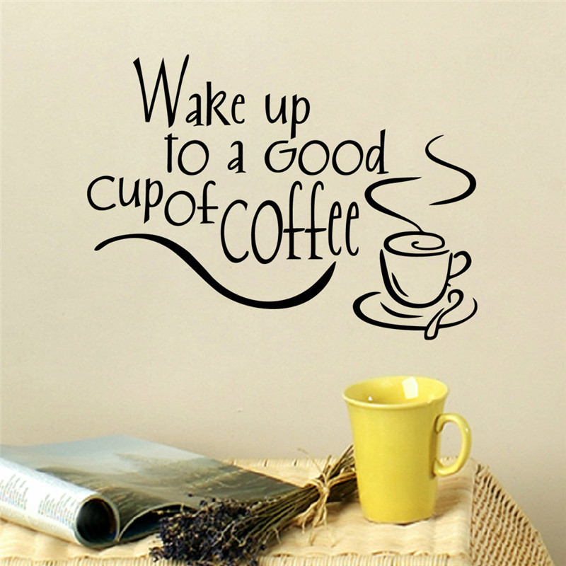 Wake Up To A Good Cup Of Coffee Wall Sticker Self-adhesive Good Morning Wallpaper Living Room Wall Stickers Home Decal Wall Art