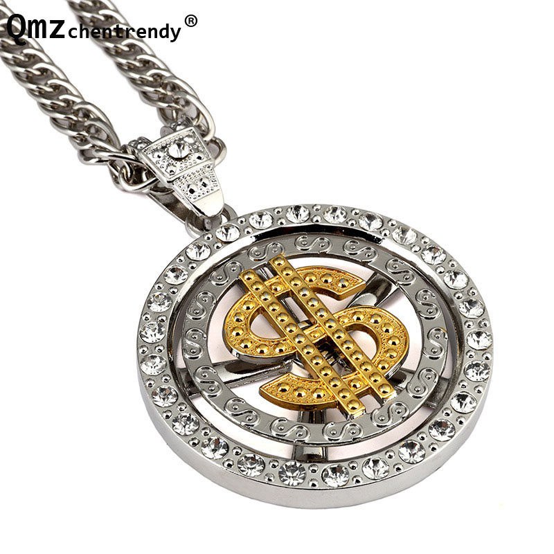 Apprehensive Hip Hop Bling Iced Out Mens Whirligig Spin Big Money Us Dollar Rich Round Rotation Pendant Franco Chain Necklace Rapper Jewelry Careful Calculation And Strict Budgeting