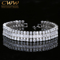 CWWZircons Brand Sparkling White Gold Color Top Grade Cubic Zirconia Stone Luxury Big Wrap Bracelet Bridal