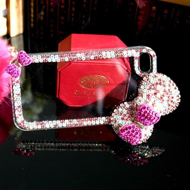 Lyxig 3D-båge knäppt diamantväska Rhinestone Crystal Bling Cover - Reservdelar och tillbehör för mobiltelefoner - Foto 4