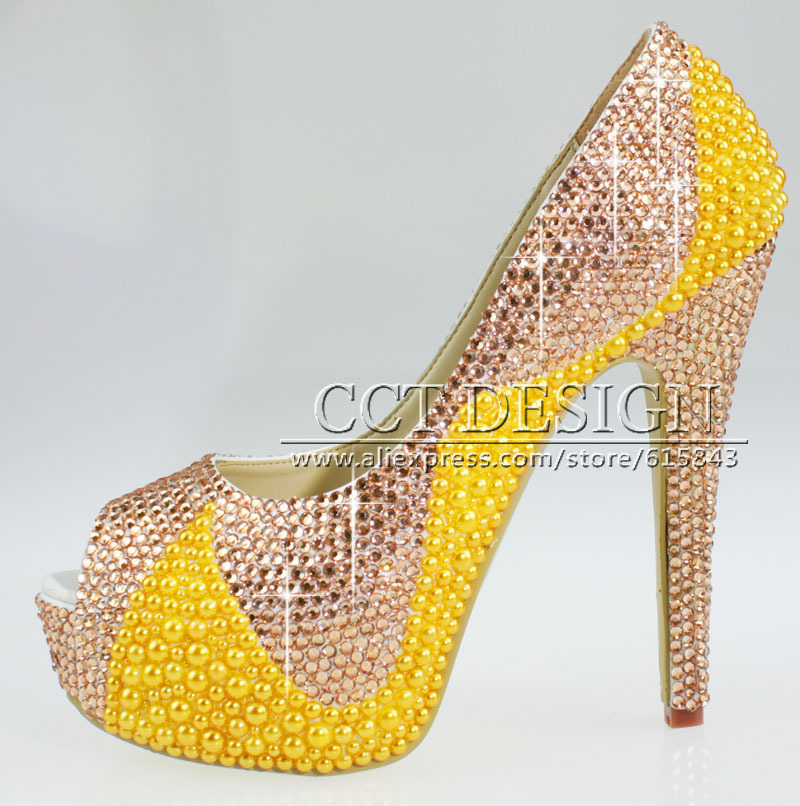 free shipping women peep toe platforms champagne rhinestone and yellow pearls wedding bridal high heels shoes