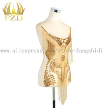 Handmade sew on Rhinestone Patch Tassels Waterfall dangling bodice applique bodices patches