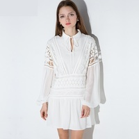 Plus Size XXXL Women Chiffon Dress 2016 New Long Sleeve Ladies Lace Dress Patch Work Women