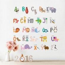 Creative 26 ABC Alphabet Words Wall Stickers Bedroom Nursery Home Decor Cartoon Animals Decals Pvc Mural Art Wallpaper