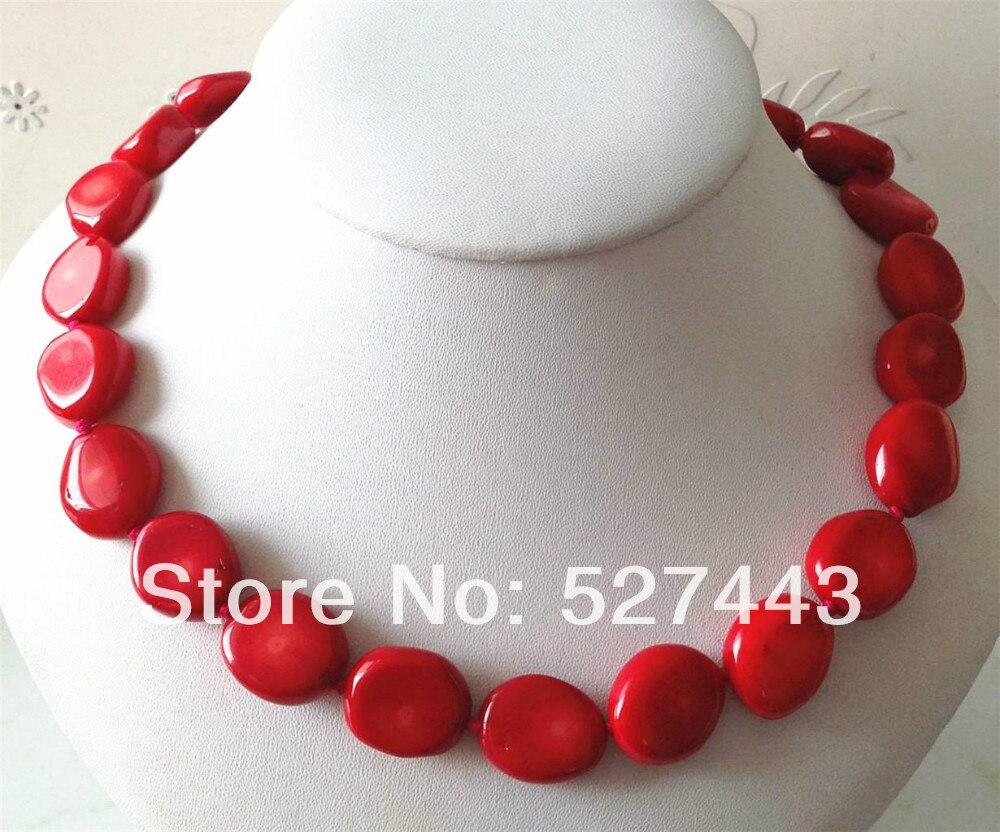 Gros livraison gratuite > > Rare 15 - 20 mm mer rouge corail collier 18 ''