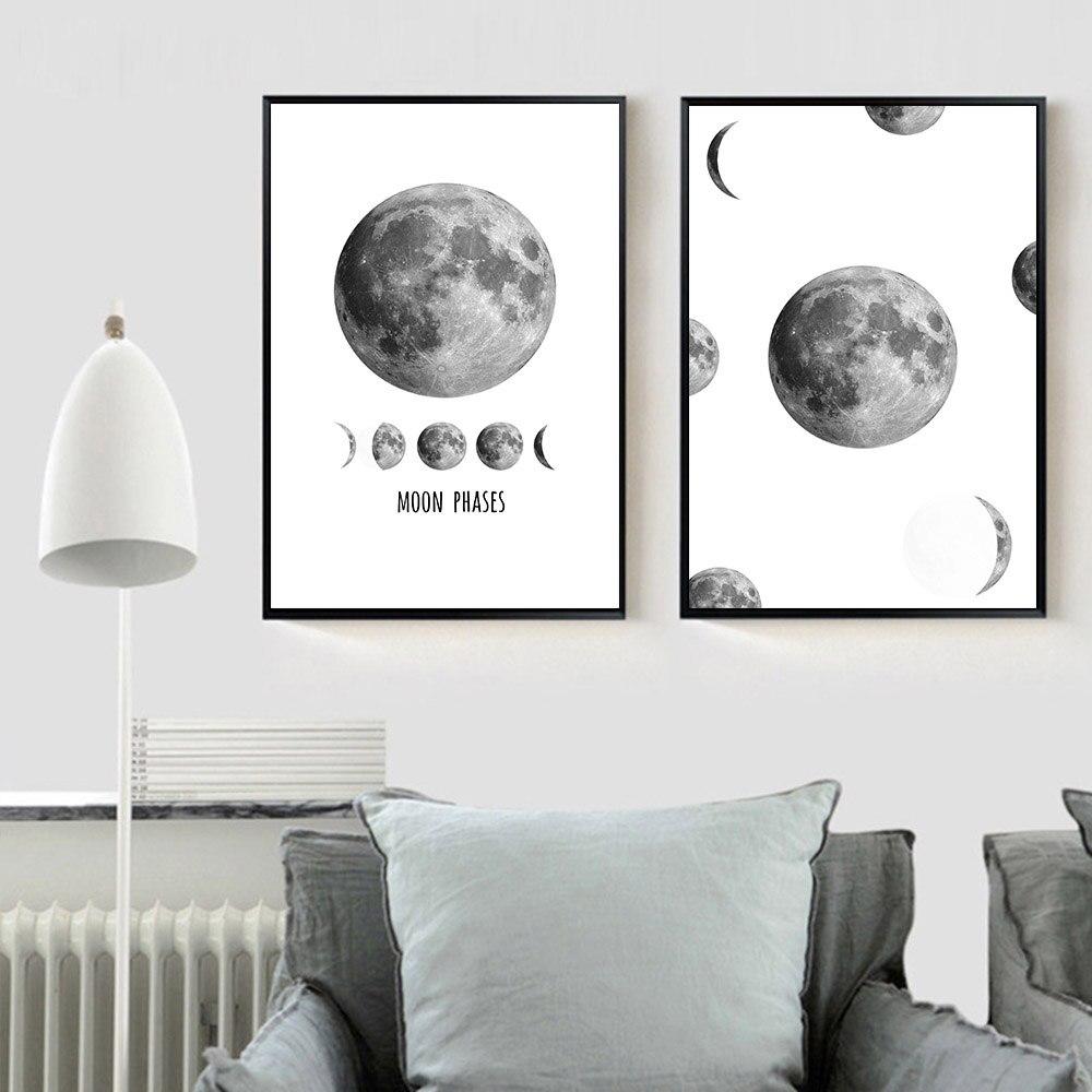 Mondphase Raum Poster Minimalistischen Wandkunst Leinwand Malerei ...