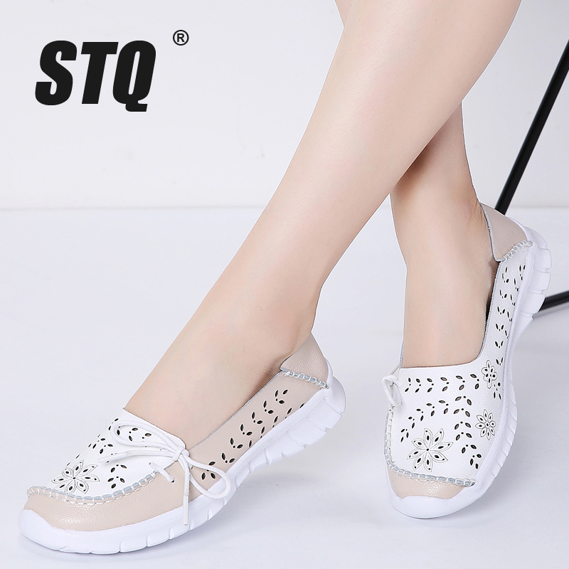 STQ 2019 Spring Women Flats Genuine Leather Shoes Slip On Ballet Flats Ballerines Flats Woman Moccasins Flat Loafers Shoes 7737