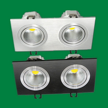 White/Black/silver shell double cob 20w led ceiling light dimmable 2*10w spot light recessed AC85-265v warm natural cold white