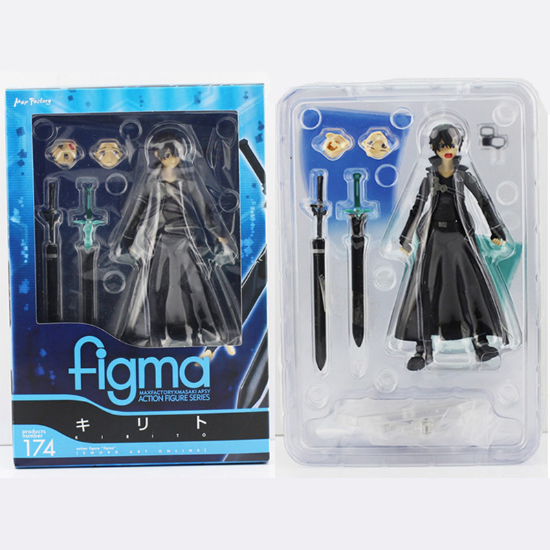 15cm Sword Art Online Action Figure SAO Kirito Figma 174 Model Doll Weapon - Godzone store