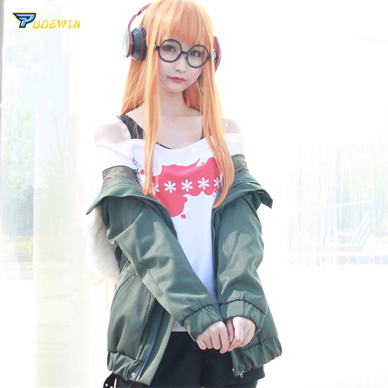 Pants Sock Full Set Cosplay Costume Persona 5 Futaba Sakura Navi Coat+T-shirt