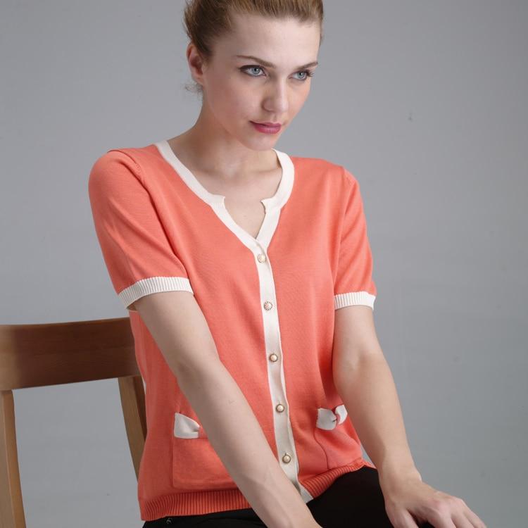 Летом с коротким рукавом шелк Модные женские шелк тутового шелкопряда кардиган 3735