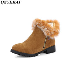 QZYERAI New arrival winter warm fashion short boots side zipper rabbit hair female boots women shoes