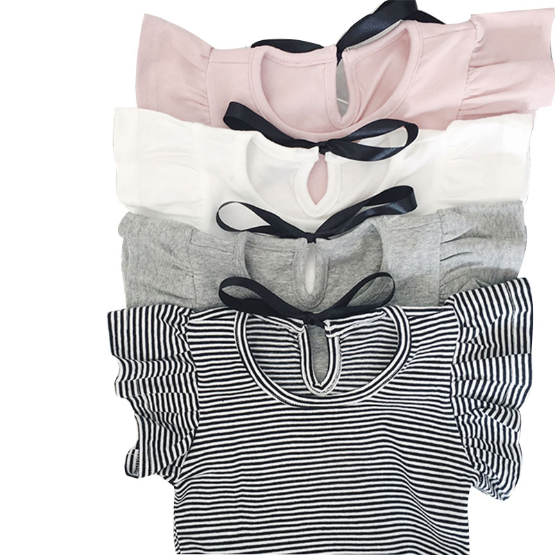 2019 Toddler Girl Summer Causal T <font><b>Shirt</b></font> Ruffle T-<font><b>shirt</b></font> For Girls Lovely <font><b>Baby</b></font> Pink/White/Gray/Striped <font><b>Basic</b></font> Tees Quality Tops image