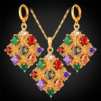 Crystal Necklace Earrings Set For Women Fashion Jewelry 18K Real Gold Plated Mix Color Cubic Zircon