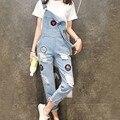 Formal de verão mulheres Denim macacão 2016 macacão Feminino macacão mulheres macacão Jeans buracos Vintage mulheres Playsuit