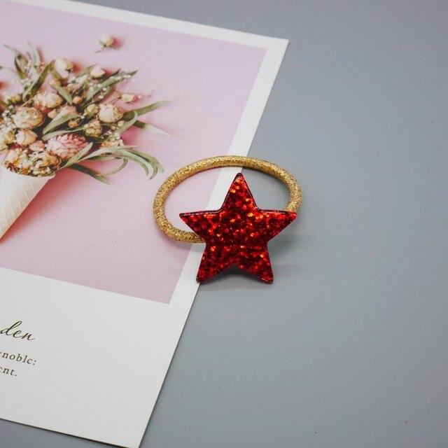 Boutique 30pcs Fashion Cute Acrylic Star Hair Ties Solid Cartoon Elastic Hair Bands Rubber Band Princess Hair Accessories