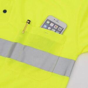 Image 4 - Hi Viz Safety Work polo shirt reflective High Visibility  Long Sleeve Polo workwear Shirt free shipping