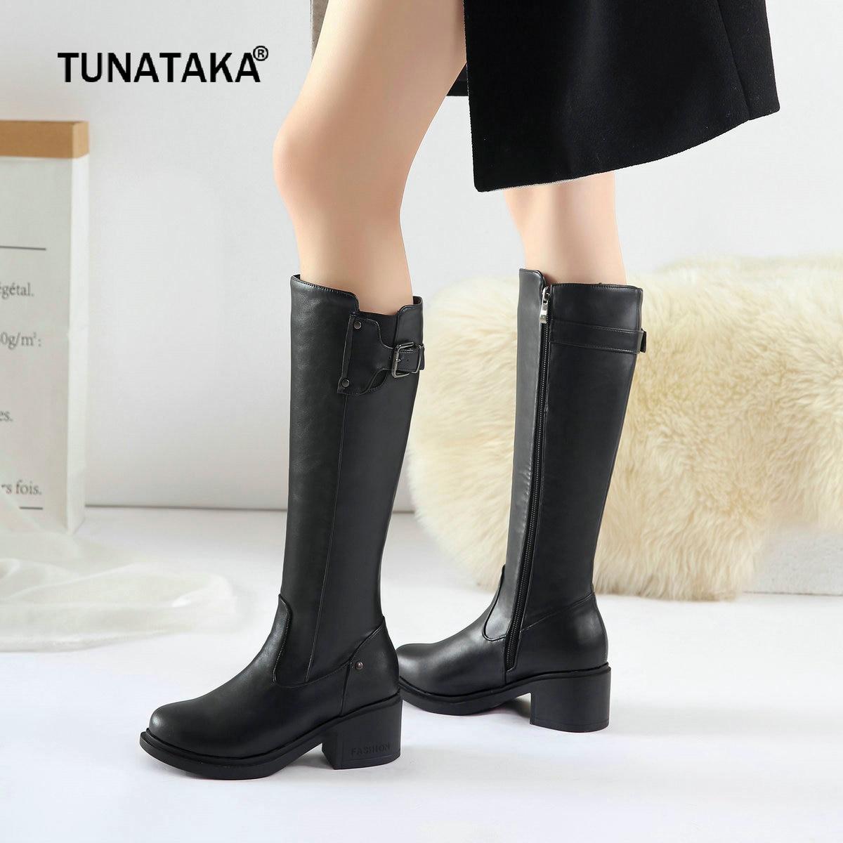 899f1ade2 Хорошо продажа Для женщин сапоги до колена удобные толстый каблук ботинки  на молнии женские осень зима Модная женская обувь плюс Размеры... дешево