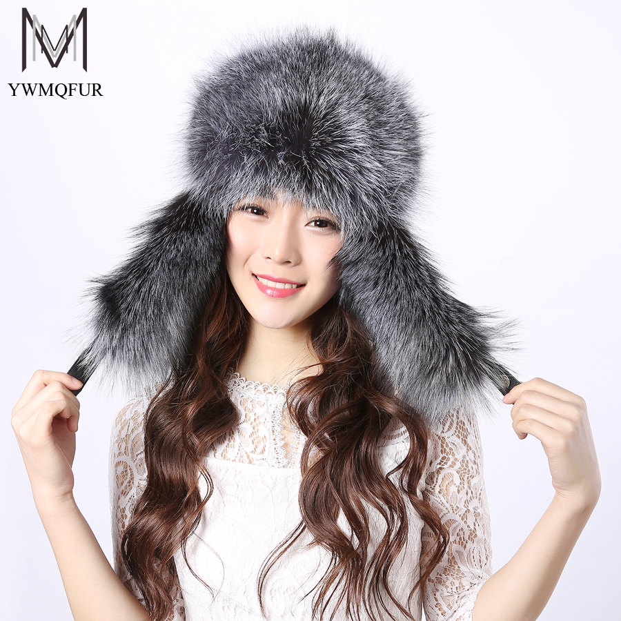 YWMQFUR Winter fur hats for women real raccoon fur & fox fur cap 2017 fashion women brand fur hat hot sale good quality Hot H29