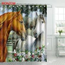 WONZOM Horse Polyester Fabric Shower Curtain Elephant Bathroom Decor Waterproof Animal Cortina De Bano With 12 Hooks Gift