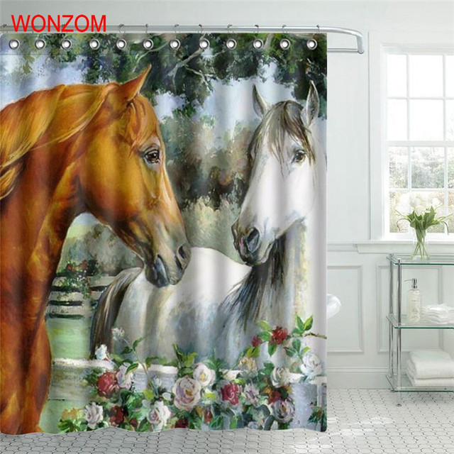 WONZOM Horse Polyester Fabric Shower Curtain Elephant Bathroom Decor Waterproof Animal Cortina De Bano With 12 Hooks Gift