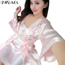 Uwback 2017 Summer Brand Faux Silk Robe & Gown Sets For Women Embroidery Night dress Female Bridemaid Robes Mujer OB274