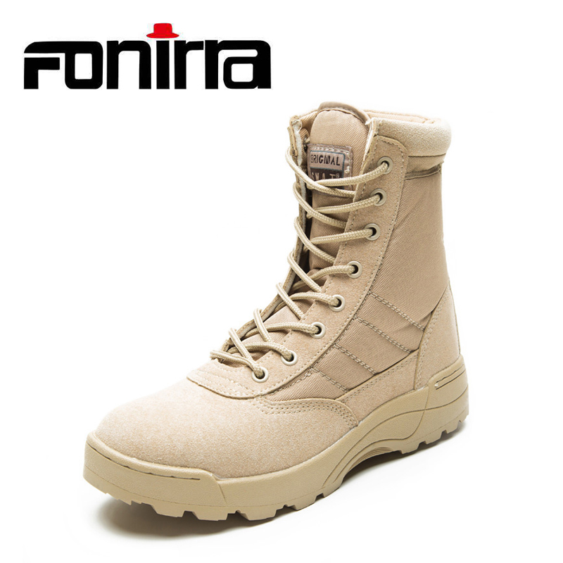 FONIRRA Fashion Ankle Men Boots Men Work Outdoor Climbing Shoes High Top Casual Shoes Army Boots Bige Size 37-46 For Men 729 newest designer men s fashion camouflage ankle buckle casual shoes for men high top shoes platform motorcycle men shoes