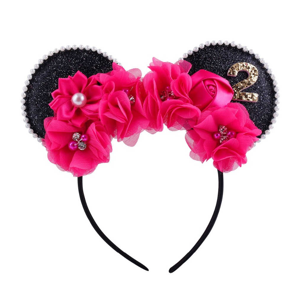 New Fashion Minnie Mouse Ears Hairband With Sequin Hair Bows For Kids Girls Cute Bling Bow Headband Hair Hoop Hair Accessories feitong kids hair bands multicolor glitter headband hair accessories for girls scrunchy bow accessoire cheveu hair bows