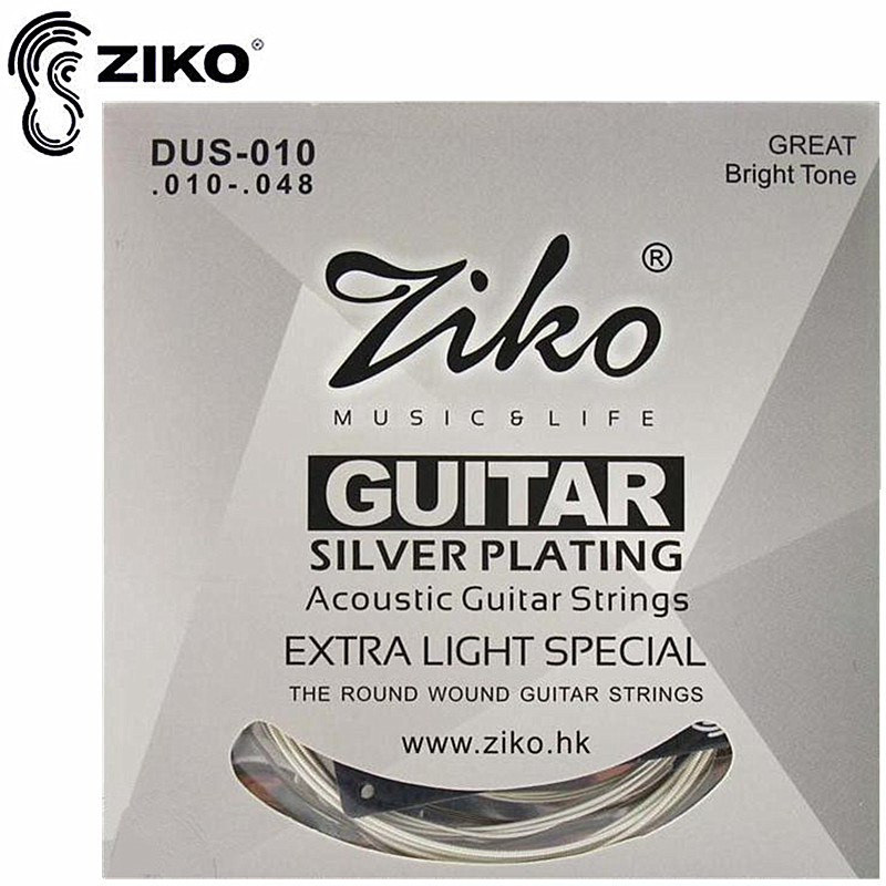 ZIKO DUS 010-048 011-050 012-053 Acoustic guitar strings silver plating guitar parts musical instruments Accessories amola acoustic guitar strings set 010 012 011 pure copper steel 010 047 acoustic wound guitar 1 6th string musical instruments