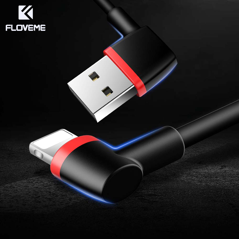 Floveme 90 Degree For Iphone Lightning Usb Cable 1m 2 1a